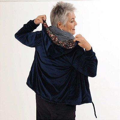Jaqueta Plus Size de Plush Azul Marinho
