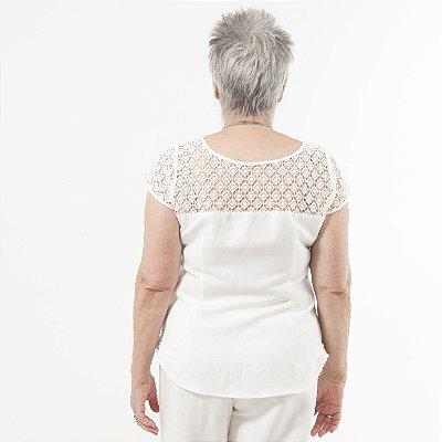 Blusa Plus Size de Linho Renda Guipir Pérola