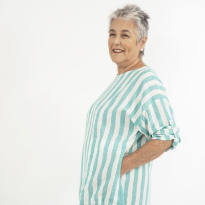 Vestido Plus Size de Linho Tubo Biarritz Turquesa