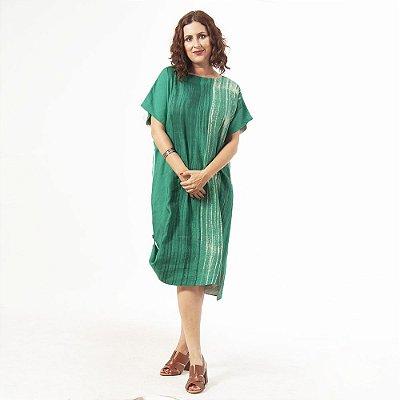 Vestido Tubo Plus Size de Linho Aquarela Esmeralda