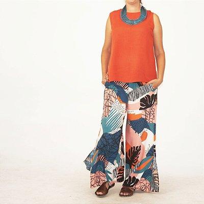 Calça Pantalona Flare Plus Size Estampa Burle Marx Azul