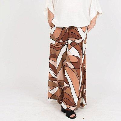 Calça Pantalona Flare Plus Size Viscolinho Rabisco Marrom