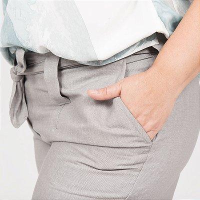 Shorts de Linho Prata