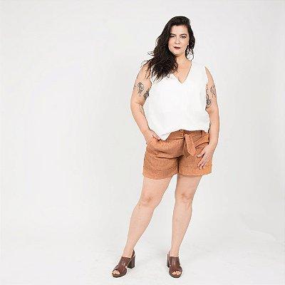 Shorts de Linho Terracota