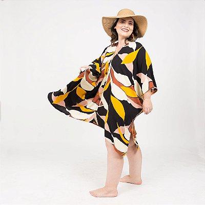 Vestido Kimono Folhagem Mostarda