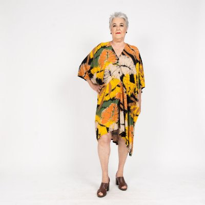 Vestido Kimono Floral Amarelo