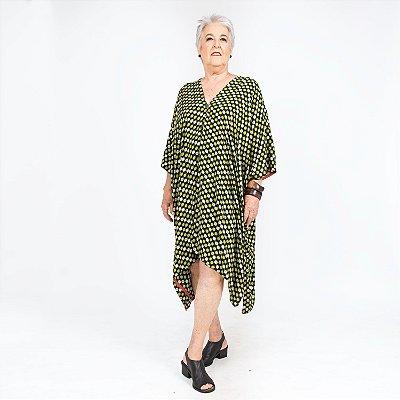 Vestido Kimono Poá verde