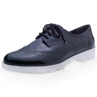 OXFORD BROGUE FEMININO BLACK (PRETO) - VERNIZ