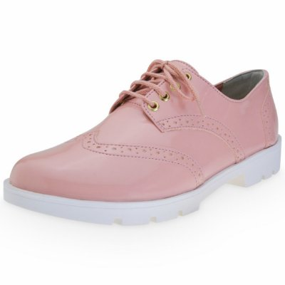 OXFORD BROGUE FEMININO ROSE (ROSA CLARO) - VERNIZ