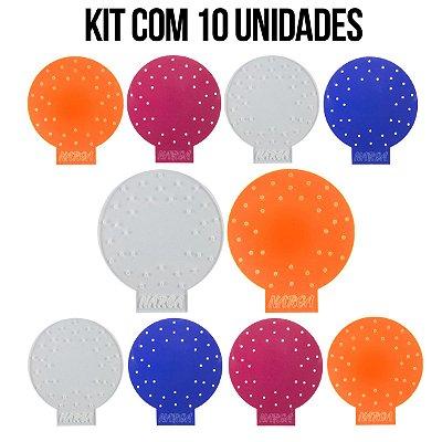 KIT COM 10 MOLDE FURAÇÃO DE PAPEL ALUMÍNIO ACRÍLICO NARGA