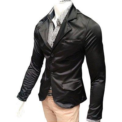 Blazer Slim Fit Masculino Jaqueta Casual Preto Acetinado