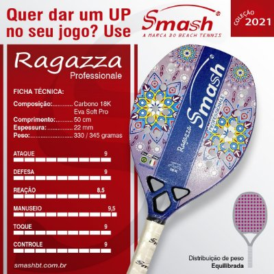 Raquete de Beach Tennis  - Smash BT – Mod. Ragazza Professionale