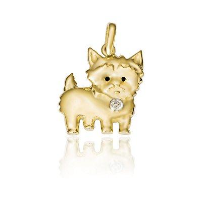 Pingente Cachorro Ouro 18K 750 com 1 Diamante
