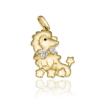 Pingente Cachorro Ouro 18K 750 com 3 Diamantes