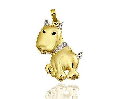 Pingente Cachorro Ouro 18K 750 com 5 Diamantes