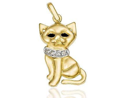 Pingente Gato Ouro 18K 750 com 4 Diamantes