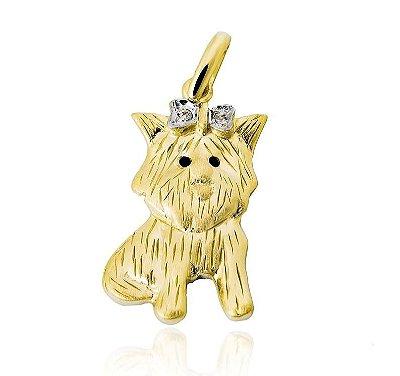 Pingente Cachorro Ouro 18K 750 com 2 Diamantes