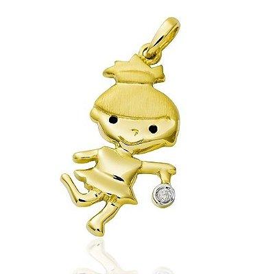 Pingente Menina Ouro 18K 750 com 1 Diamante