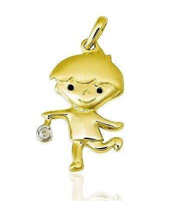 Pingente Menino Ouro 18K 750 com 1 Diamante