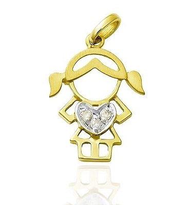 Pingente Menina Ouro 18K 750 com 3 Diamantes