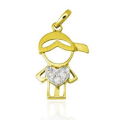 Pingente Menino Ouro 18K 750 com 3 Diamantes