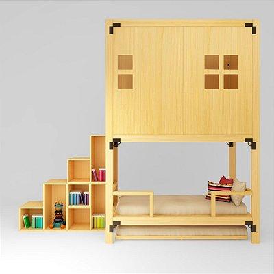 MINICAMA Infantil Minitoca Painel Natural com Escada ESTANTE
