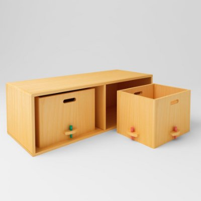 ARMÁRIO ROTATIVO Montessori Viscondesconde - (com 2 caixas madeira)
