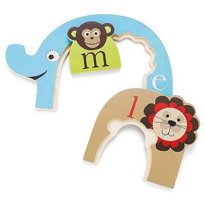 Quebra Cabeça Skip Hop - Modelo Alfabeto Animal: Macaco, Leão e Elefante - ÚLTIMAS UNIDADES