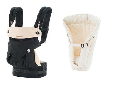 Combo Canguru 360 Black Camel + Infant Insert Natural ******* PROMOÇÃO ESPECIAL GANHE UM Babador/Almofada de dentição  - Coleção 360 - Ergobaby Teething Pad - Natural *********