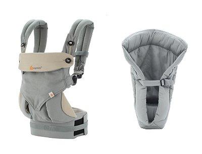 Combo Canguru 360 Grey + Infant Insert Grey ******* PROMOÇÃO RELAMPAGO   GANHE UM Babador/Almofada de dentição  - Coleção 360 - Ergobaby Teething Pad - Natural *********