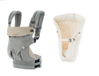Combo Canguru 360 Grey + Infant Insert Natural ******* PROMOÇÃO ESPECIAL  GANHE UM Babador/Almofada de dentição  - Coleção 360 - Ergobaby Teething Pad - Natural *********