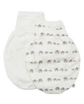 Swaddler (small/medium) - Embalagem com 2 unidades (cores: Elephant e Natural) - O Cueiro Inteligente - Sono tranquilo para o seu bebe