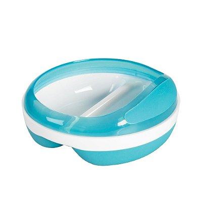 Prato com divisorias - azul - OXOTot - (2 x 75 ml) - Base anti derrapante e tampa