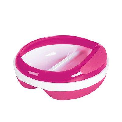 Prato com divisórias rosa - OXOTot - (2 x 75 ml) - Base anti derrapante e tampa