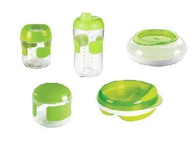OXOtot Verde - 1 copo treinamento + 1 copo anti vazamento + 1 prato com divisórias e 2 potes snack (lanche) Flip Top e o Disk