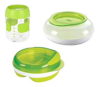 OXO Tot Verde - Prato Com Divisórias + Pote Infantil Snack Disk + Copo Treinamento