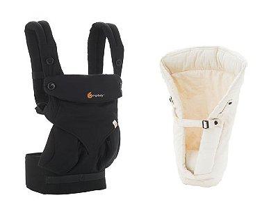 COMBO: Canguru Ergobaby - Modelo 360 - Cor Pure Black + Infant Insert - cor Natural