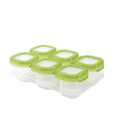 Bandeja com 6 potes de armazenamento com tampa OXOTot verde (6 x 60ml) - BPA free - Permite freezer e Microondas !!!