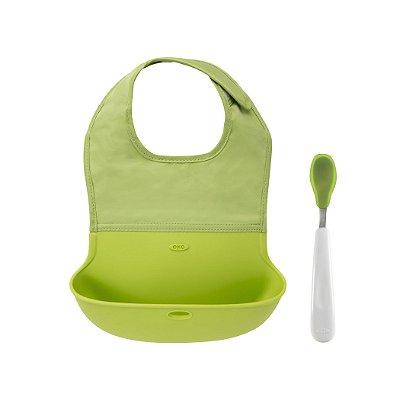 Conjunto de babador com bolsa de silicone e colher colher com ponta de silicone OXOTot Verde