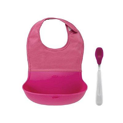 Conjunto de babador com bolsa de silicone e colher com ponta de silicone Oxotot - Rosa
