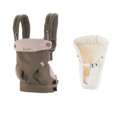 COMBO: Canguru Ergobaby - Modelo 360 - Cor Taupe Lilac + Infant Insert - cor Natural
