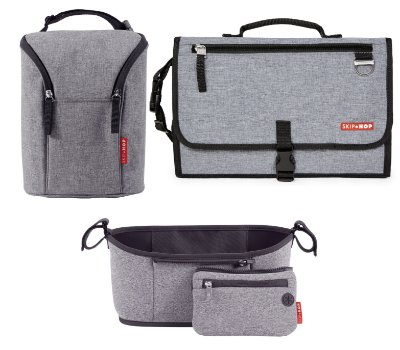 SUPER COMBO - Heather Grey Collection -  AS 3 PEÇAS *****  Trocador Pronto + Stroller Organizer + Double Bottle - Para todas as ocasiões!!! PROMOÇÂO OUTONO SKIPHOP