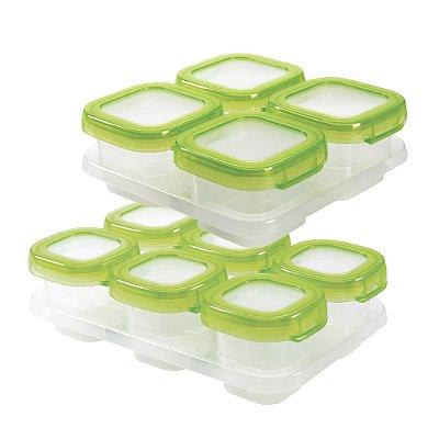 Bandeja com 10 potes de armazenamento com tampa OXOTot verde (4 x 120ml e 6 x 60ml) - Permite freezer e microondas!!