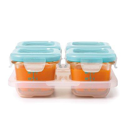 Bandeja com 4 potes de vidro ( borosilicato) de armazenamento com tampa OXOTot Azul (4 x 120ml)