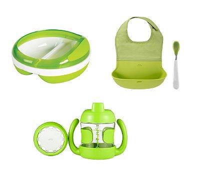 COMBO OXOtot: - Prato Com Divisória + Babador  com bolsa de Silicone com colher de ponta de Silicone + Copo de transição e Treinamento Verde