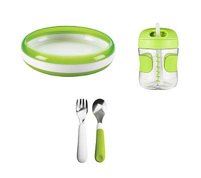 COMBO ESPECIAL Começando a Comer Sozinho - Prato Treinamento + Conjunto de Garfo e Colher  + Copo com Canudo Verde