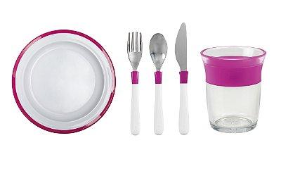 COMBO OXO: Comendo como os Adultos - Prato + Talheres + Copo Linha Big Kids Rosa