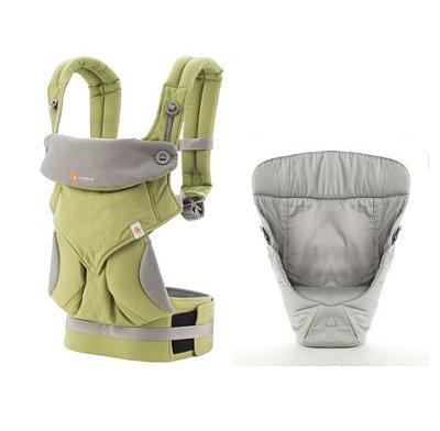 Canguru - BabyCarrier Ergobaby - Coleção 360 - Green + Infant Insert Snug Grey