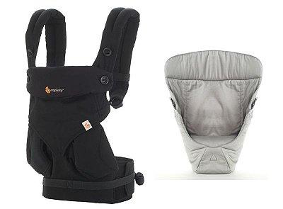 Canguru - BabyCarrier Ergobaby - Coleção 360 - Pure Black + Infant Insert Snug Grey