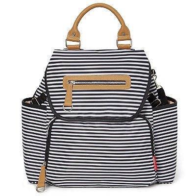 Bolsa Maternidade Grand Central Take-it-All Backpack ( Mochila) - Black White Stripe